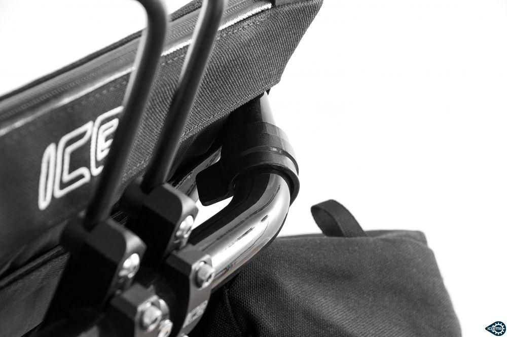 ICE Radical Allfa Recumbent Bags easy mounting on seat frame with rock solid polymer clamps and steel slide hooks