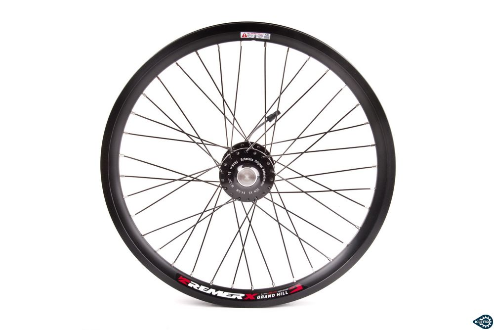 Front wheel with SON Schmidt hub dynamo 20 inch for ICE trike black right side